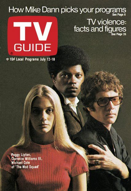"""TV Guide: July 12, 1969 - Peggy Lipton and Clarence Williams III of """"the Mod Squad"""""""