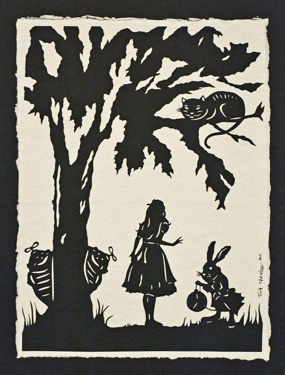 Alice in Wonderland: Happy Thoughts, Rabbit Hole, Art Patterns, Alice In Wonderland, Silhouette Papercutting, Cut Paper, Prints, Aliceinwonderland, Sweet Tattoo