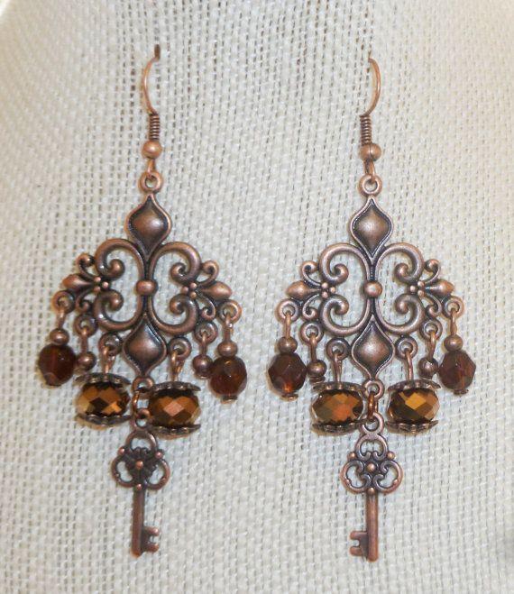 Antique copper key fleur de lis chandelier by MastersofTincture