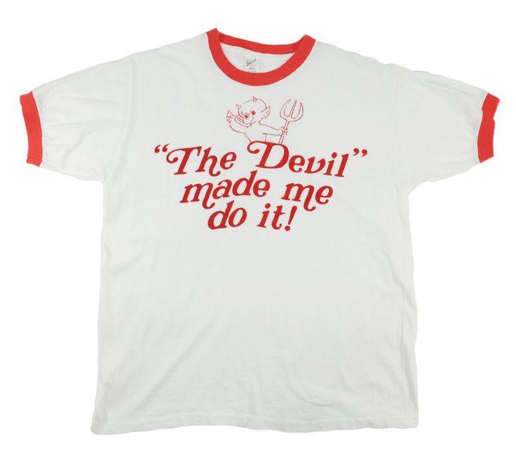 "70's SPORTWEAR ""The Devil made me do it!"" 染み込み リンガーTシャツ 表記(L)"
