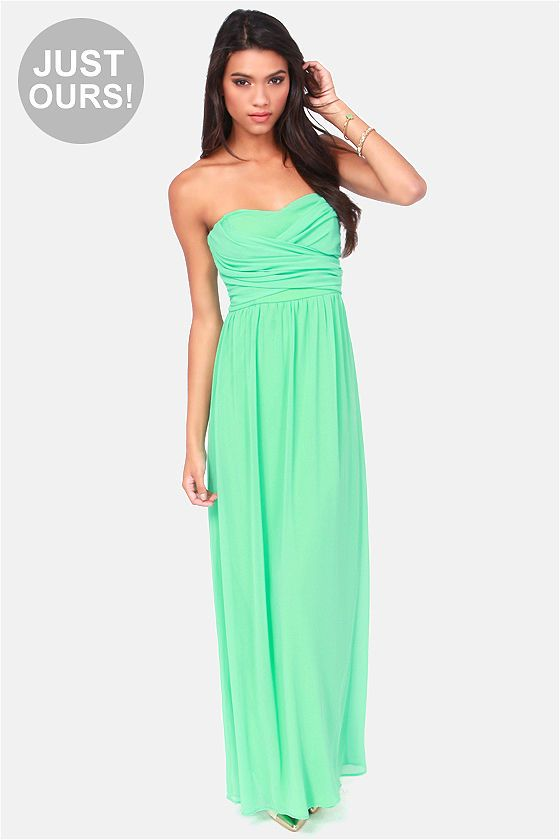 A little more on the blueish side, but pretty and cheap!... LULUS Exclusive Slow Dance Strapless Mint Maxi Dress at LuLus.com!
