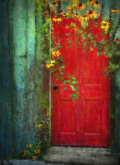 'Behind The Red Door': Red Doors, The Doors, Secret Gardens, Paintings Doors, Red Flower, Front Doors, Beautiful Doors, Gardens Doors, Yellow Flower