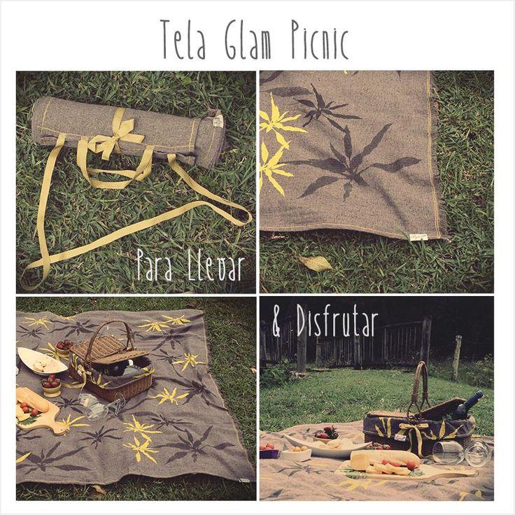 Tela Glam Picnic  100% ecológica, estampada a mano, con lindos detalles y con un practico sistema para llevar a todas partes!