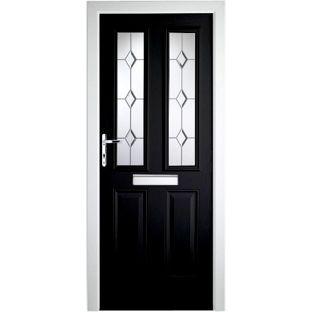 PVC Composite Door 2 Narrow Lite - 36.25in - Black - Right Hand from Homebase.co.uk