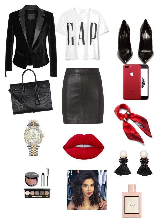 """Sin título #265"" by carolinaramirez-1 on Polyvore featuring moda, Helmut Lang, Yves Saint Laurent, Mulberry, Paige Denim, Rolex, MANGO, Lime Crime, Bobbi Brown Cosmetics y Gucci"