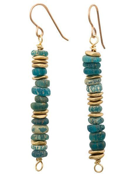 Shades of turquoise ancient glass with brass accent earrings. Bronze ear wires. 2 inches long #seaglassearrings