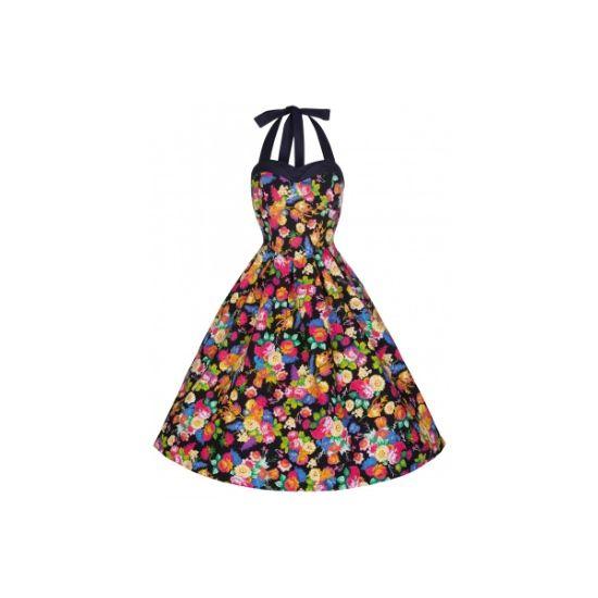 Retro šaty Lindy Bop Carola Floret Šaty ve stylu 50. let. Až se Vás jaro či léto zeptá, co jste dělala v zimě, můžete odpovědět - koupila jsem si úžasné šaty Carola Floret! Buďte připravené a pořiďte si tyto dokonale padnoucí šaty - hrají pestrými barevnými květy, vypasovaný střih s odhalenými zády.