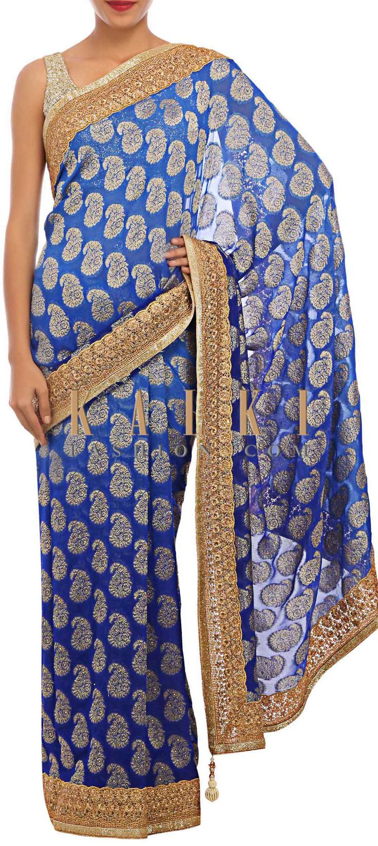 Buy Online from the link below. We ship worldwide (Free Shipping over US$100) http://www.kalkifashion.com/blue-ombre-brocade-saree-embellished-in-weave-and-kundan-only-on-kalki.html