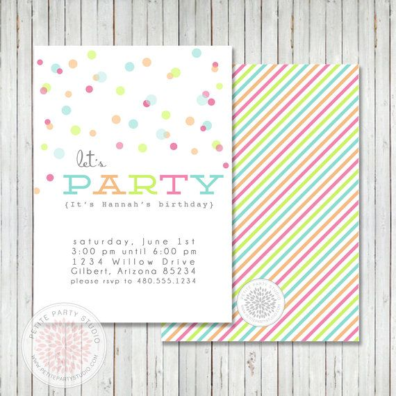 Printable Party Invitation - Confetti Polka Dot Birthday or Baby Shower - Petite Party Studio
