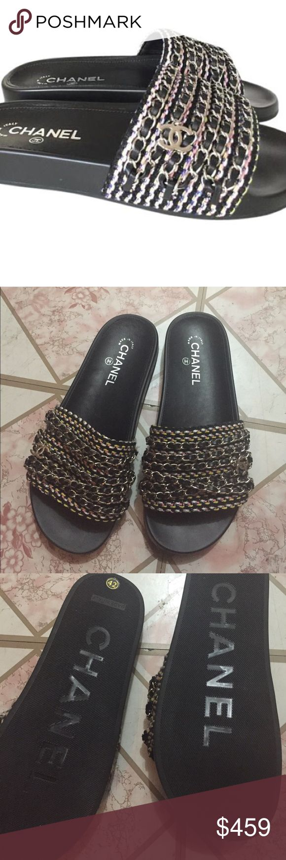 Shoes Brand new Chanel sliders !! 100% high qaulity !! No hate just looking out for my ladies who loves CC !! The authen retails for $2,000 and is currently sold out!! These fit true size 10-10.5 as seen on many celeberties like Kylie Jenner & black chyna !! NO TRADE! FIRM on price !! First come first serve !! NOT FROM LISTED BRAND Zara Shoes
