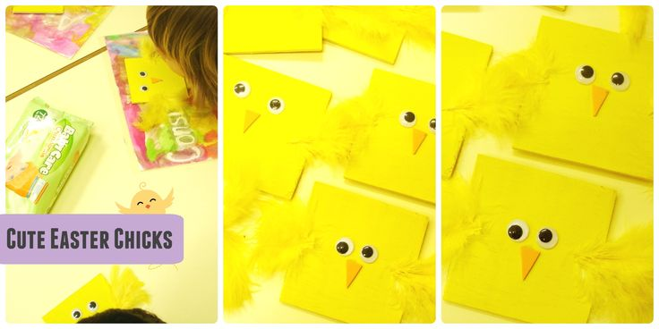 Easter chick craft on air-wood, a really simple craft for toddlers & preschoolers