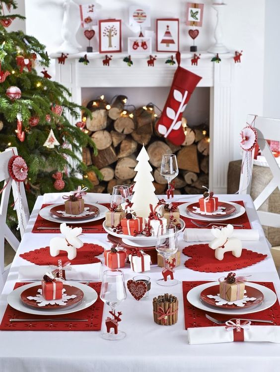 Festive red and white Christmas decorations and table setting