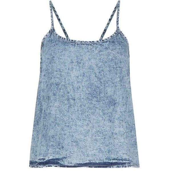 Primark Denim Strappy Top, 5 ❤ liked on Polyvore featuring tops and shirts
