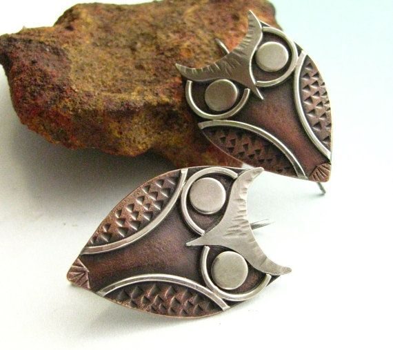 Copper Owl Earrings - Athena Mixed Metal Sterling Silver And Copper Metalsmith Wearable Art Metal Jewelry