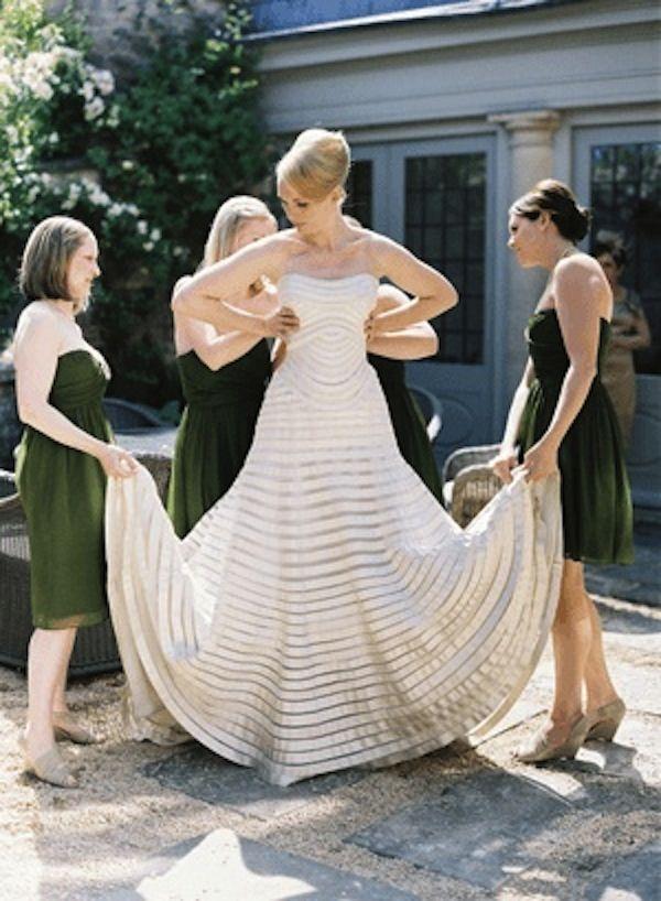 wedding dress love stripes