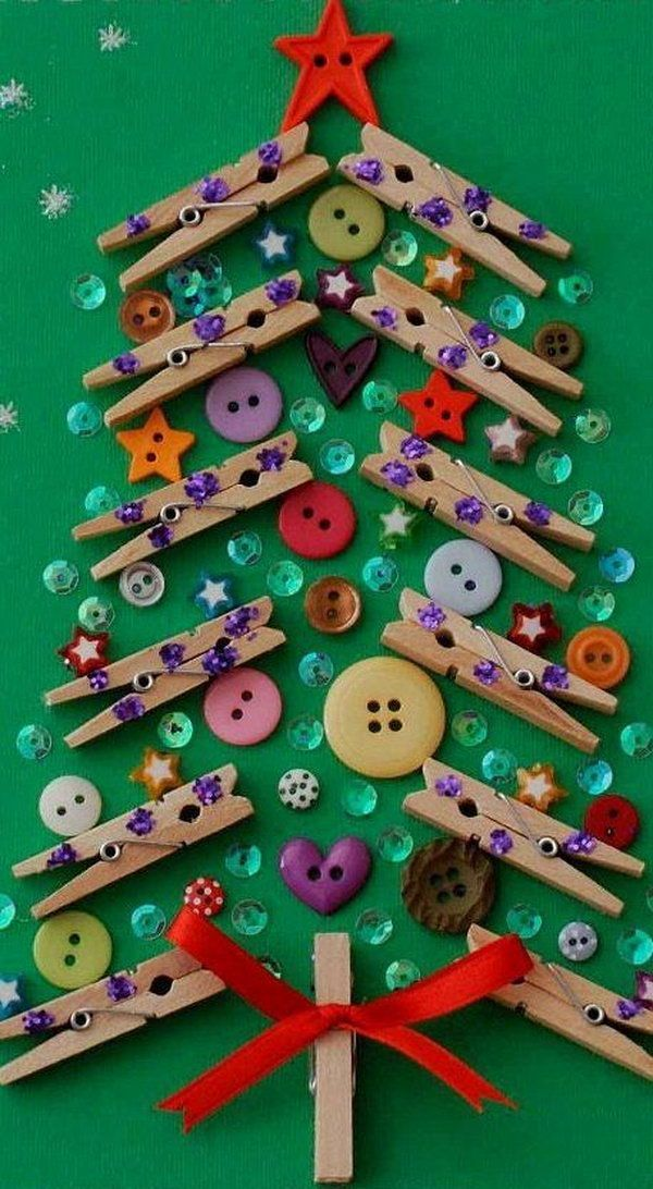 christmas tree from clothespins and buttons, Cute Clothespin Crafts and Ideas, http://hative.com/cute-clothespin-crafts-and-ideas/,