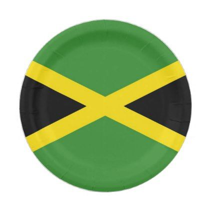 Patriotic paper plate with flag of Jamaica - home gifts ideas decor special unique custom individual customized individualized