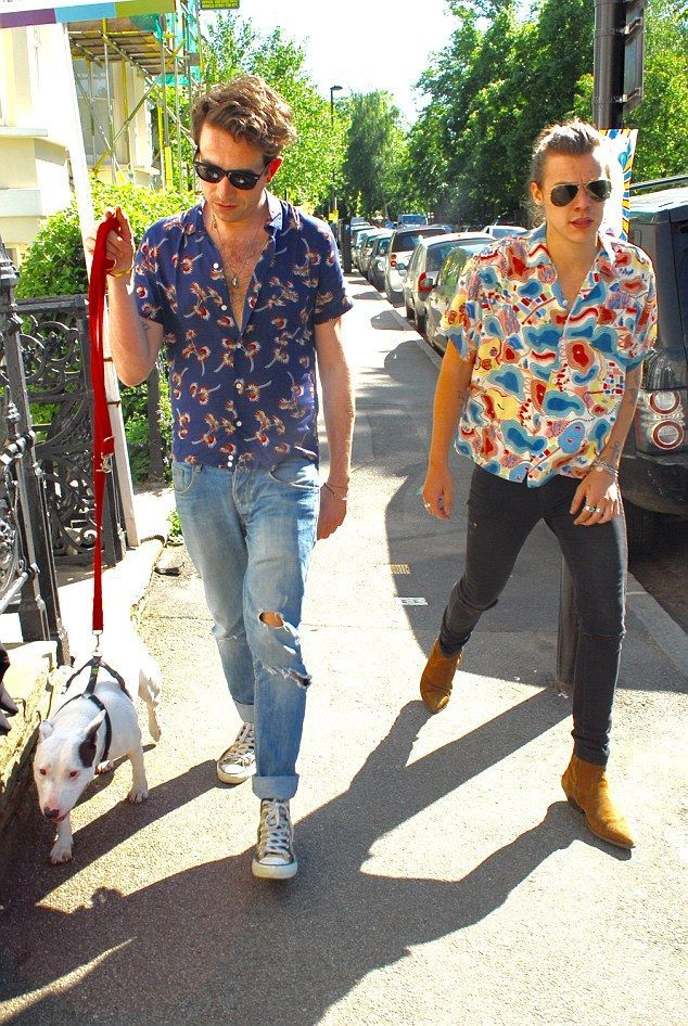 One style direction: Harry Styles appeared to have coordinated his wardrobe with pal Nick Grimshaw as they enjoyed a stroll in London on Thursday