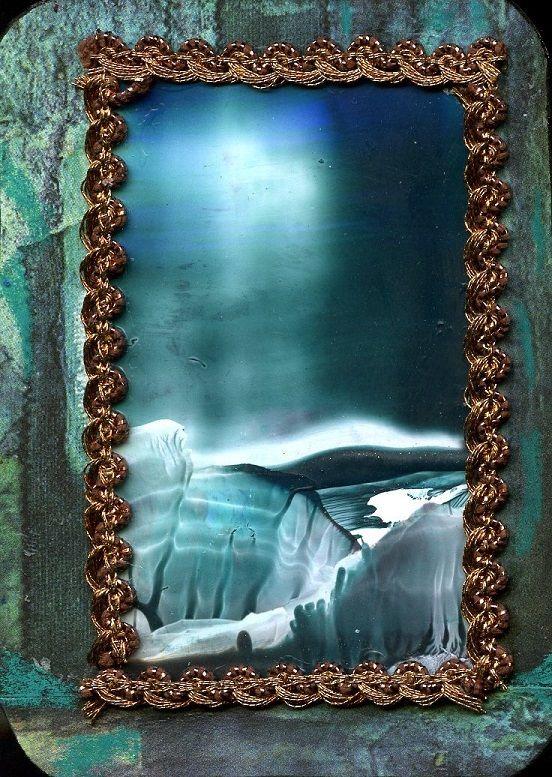 My ATC/Ikkuna/  Encaustic art , mixedmedia/ Marjatta Piironen