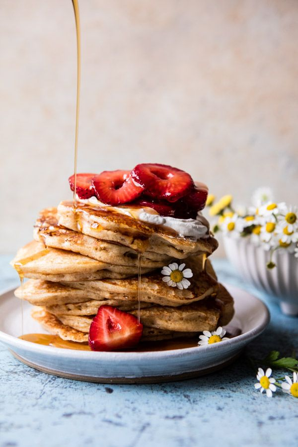 Buttermilk Pancakes with Chamomile Cream and Gingered Strawberries