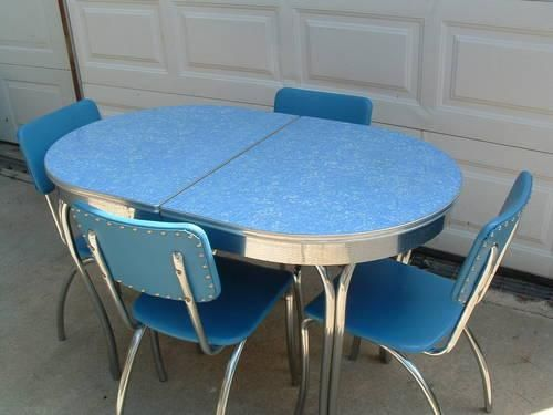 Unusual blue Formica table  from 1950s.  Visit my blog at http://cdiannezweig.blogspot.com/    Table spotted at postad360.com