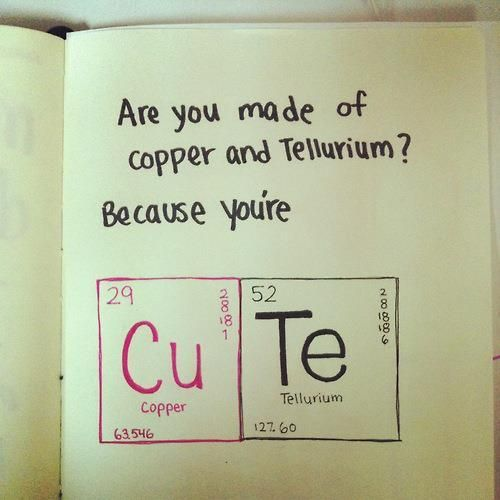 Periodic table inspired valentine.