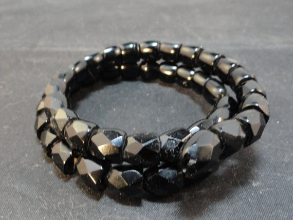 Victorian Mourning Black Whitby Jet Carved Snake by AmyJosAttic, $300.00