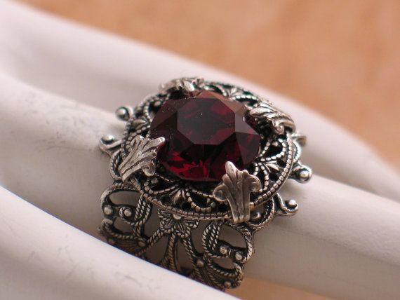 Stunning Vintage Garnet Jewel and Silver by LoreleiDesigns on Etsy