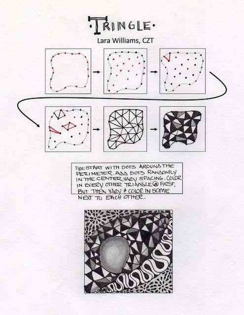 Tringle ~Zentangle tangle by Lara Williams, #CertifiedZentangleTeacher
