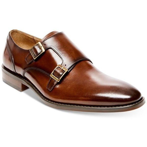 Steve Madden Men's Elvin Double Monk Strap Loafers ($115) ❤ liked on Polyvore featuring men's fashion, men's shoes, men's loafers, tan leather, mens tan shoes, steve madden mens shoes, mens double monk strap shoes, mens leather loafer shoes and mens leather shoes