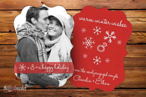 Christmas Card Engagement Announcement  Holliday Decorations