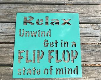 Beach Sign, Pool Sign, Deck Sign, Customized relax sign, Relax Sign, State of mind sign, Personalized Metal Sign, Metal Sign
