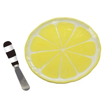 Ceramic Appetizer Plate with Spreader Set, Lemon