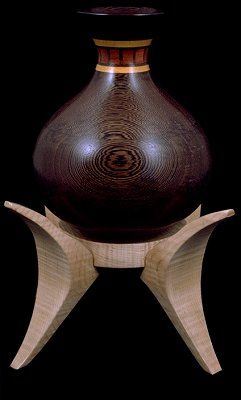 "*Wood Sculpture - ""Pot of Mandisa, Sweet Child of Njanu"" by Fred Wiman (Wenge pot with bands of satinwood and padauk, on stand of curly maple)"