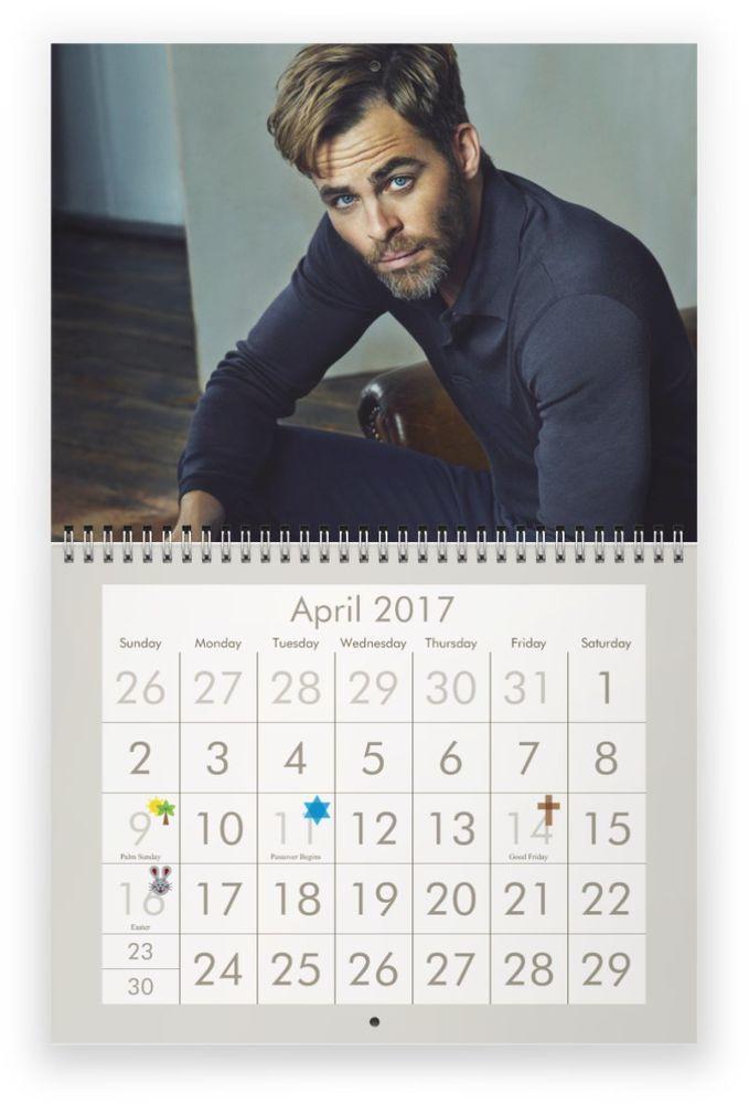 CHRIS PINE 2017 Wall Calendar - MISPRINT OF NAME ON COVER sale!