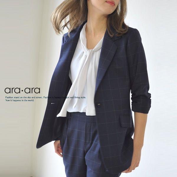 【楽天市場】ara・ara アラアラ チェック テーラードジャケット・141040(S・M)【2014春夏】:Crouka(クローカ)