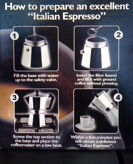 Considering the block of espresso I still have from Aaron's friend Leone I should probably get a coffee maker..... Instructions for the Moka Express