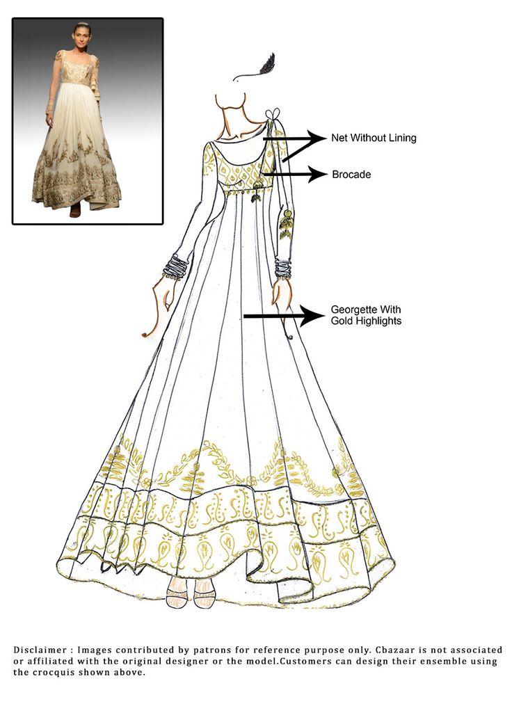 DIY White Georgette Floor Length Anarkali Suit