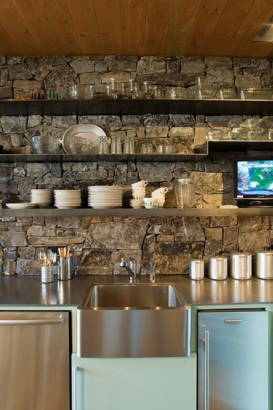Small Modern Rustic Kitchen Area....I Love The Stone And Shelves