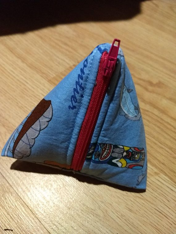 Last frontier triangle pouch, blue pouch, blue coin purse