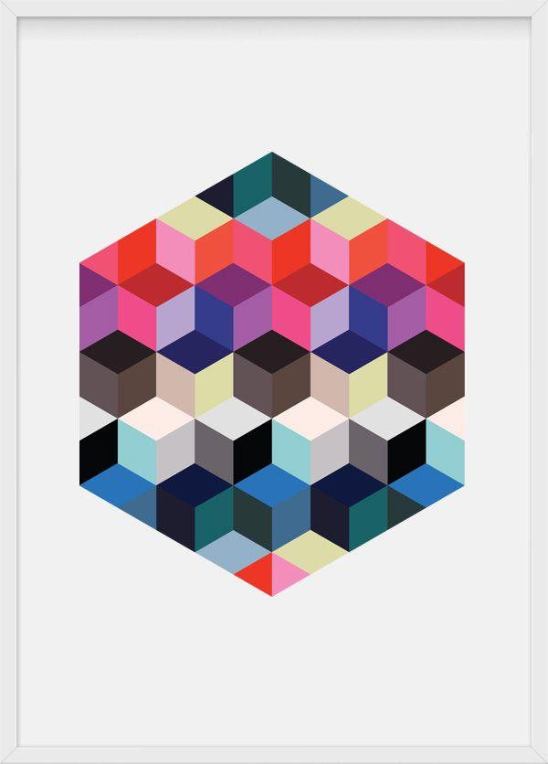 Cubic cube, illustration by Julia Kaiser, #cubic #geometry #cubes #hexagon #hexagonal #geometrical #geometricart #shapes #pattern #symmetry #multicoloured #artprint #limitededition