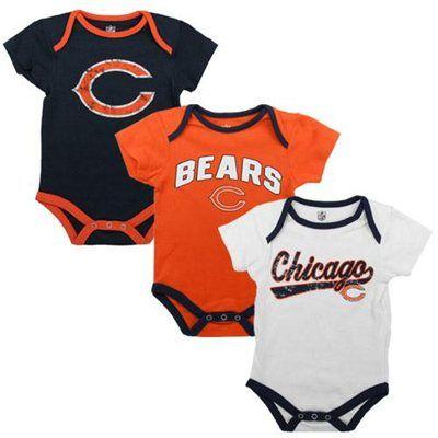Chicago Bears Newborn 3-Pack Creeper Set - Navy Blue/Orange/White