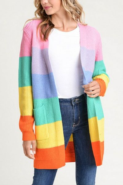 Autumn Winter Ladies Streetwear Sweater Coat Knitted Sweater Cardigan Long Sleeve Rainbow Stripe Casual Pocket Loose Fashion T Latest Fashion Women's Clothing