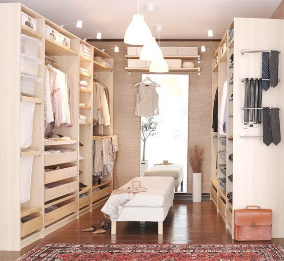 this closet is like a dream - all ikea pax wardrobes for a walk-in