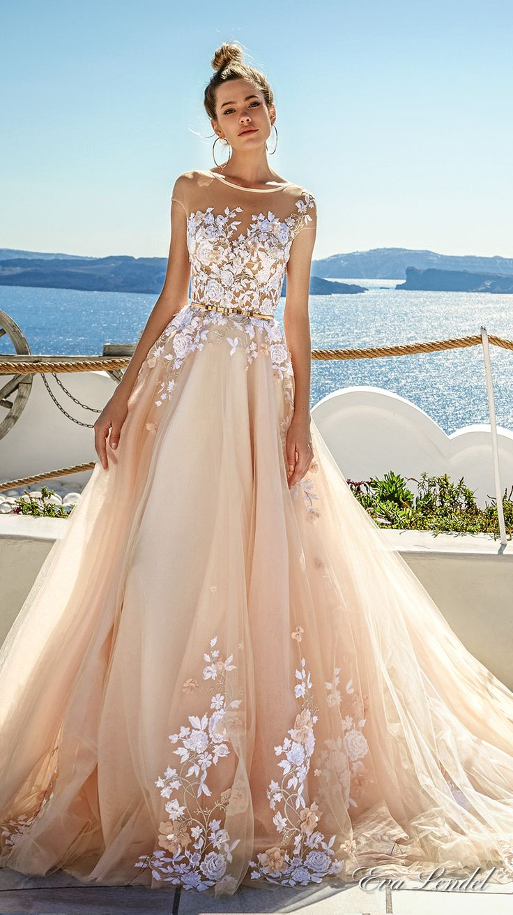 eva lendel 2017 bridal sheer cap sleeves sheer jewel neck sweetheart neckline heavily embellished bodice blush color romantic a  line wedding dress open v back chapel train (kate) mv