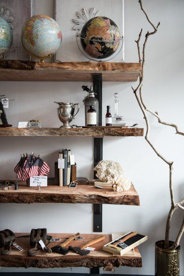 Natural wood shelves- great for the hunter or fisherman in your family