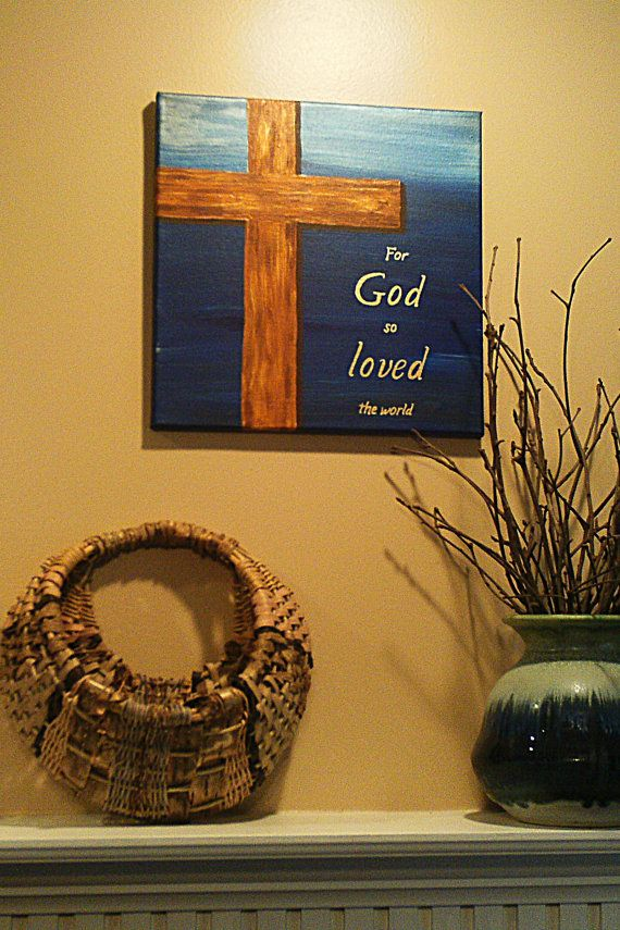 Cross painting For God So Loved The World on 12 inch by 12 inch canvas with cobalt and metallic blue background