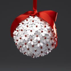 Simple Foam Ball with Paper Flowers and Red Pins.