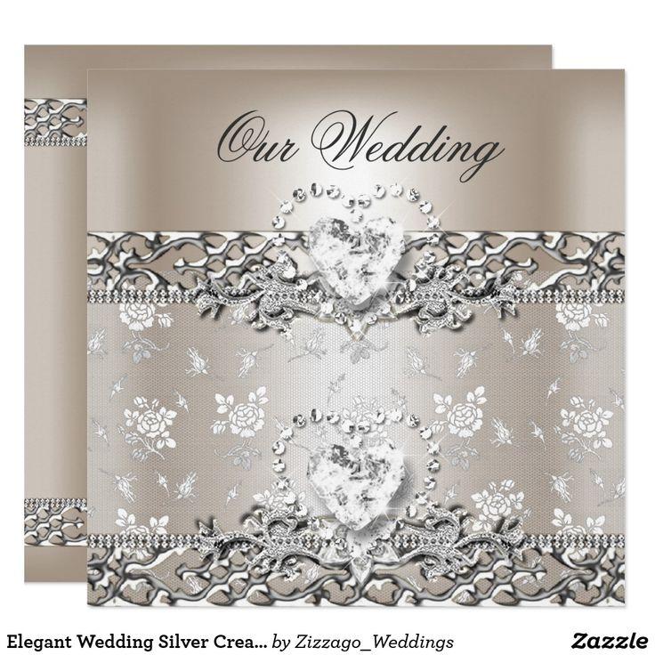 Elegant Wedding Silver Cream Diamond Heart Card