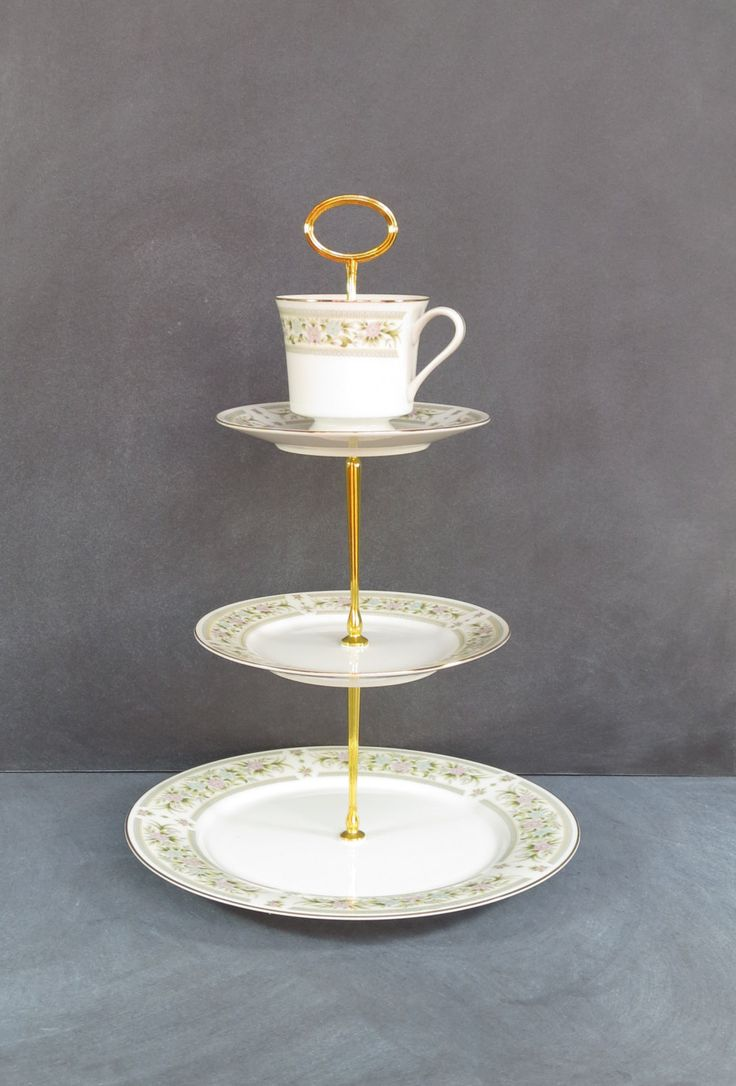 Tiered Cake Plate 3 Tier Teacup Cake Stand High Tea Plate Stand | Baby Bridal or Wedding Shower | Pale Blue \u0026Pink Flowers (Item# 00188-2) & 440 best Dancing Dish \u0026 Decor images on Pinterest | Plate stands ...